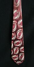 "Vintage1930's 1940's Disks Geometric Designs Wine Tie Necktie Art Deco 50"" x 4"""