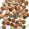 13mm WOODEN BUTTONS 2 HOLE MIXED DESIGN SEWING BUTTONS SCRAPBOOKING CARD CRAFTS