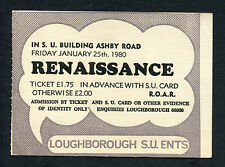 Original 1980 Renaissance concert ticket stub Loughborough U. Annie Haslam