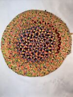 "Vtg Antique? Braided Rug 16"" Round Chair Cushion Handmade BRIGHT ORANGE COLORS"