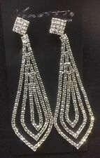 Long  Diamanté Clip On  Earrings Party Bridal Long Earrings For Non Pierced Ears