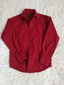 Boys Dockers Button Up dress Shirt Size 10 Maroon