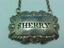 "RARE ARMORIAL CREST STERLING SILVER DECANTER WINE LABEL ""SHERRY"" 1829 LV&W B'HAM"