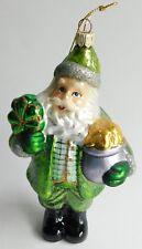 "Summit Celtic Irish Santa Hand Blown Glittered Art Glass Christmas Ornament 6"""
