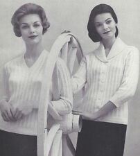 Vintage Knitting PATTERN to make V Pullover Shawl Collar Cardigan Sweater VShawl