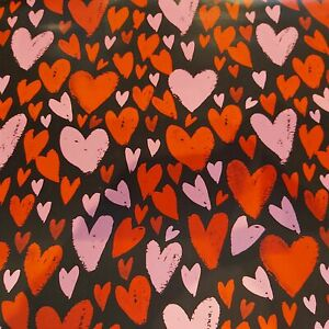 Heart Valentines Day Black Lovers Gift Wrap Sheet - 2 sheets Quality NEW