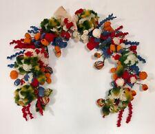 Antique Victorian Woolie  - Yarn Art - Craft - Colorful Pom Poms Spirals Balls