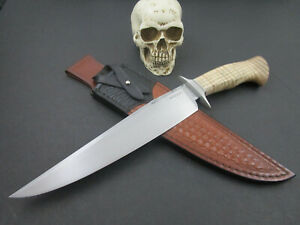 Custom Mozolic Knives Forged Bowie Fighter W2 Carbon Steel W/ Tooled Leather