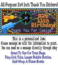 20 Laser Tag Birthday Party Thank You Stickers Gun Beams Neon Star Target Labels