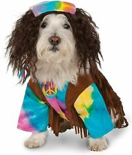 Hippie Dog Costume - MEDIUM - Tie Dye Shirt, Brown Fringe, Wig - Rubie's - NWT