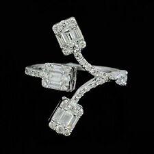 2Ct Baguette Diamond Designer Cuff Engagement Wedding Ring 14k White Gold Finish