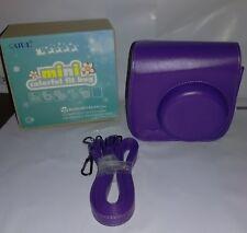 Fujifilm Instax Mini 8 CASE Shoulder Bag Vintage Pu Leather with Strap Purple