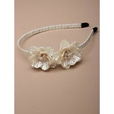 NEW Cream pearlised flowers aliceband fashion wedding races ascot prom ball
