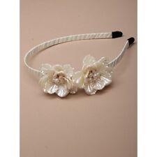 NEW Cream pearlised flowers aliceband fashion wedding races ascot prom ball