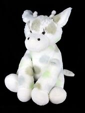 "Little Giraffe Plush Luxe Stuffed Animal Soft Lovey White Blue Taupe Dots 12"""