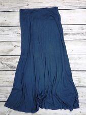 VIVIENNE TAM M Dark Steel Blue Super Soft Flared Maxi Skirt Tall Lady M flaw