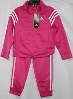 adidas Toddler Girls' Tricot Track Jacket & Pants Set, Pink/White, AG4330