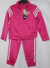 adidas Toddler Girls' Tricot Track Jacket & Pants Set, Pink/White, AG4330