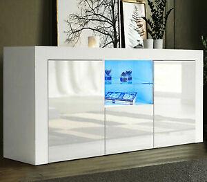 Sideboard Tv Unit Cabinet Stand White Matt Body & High Gloss Doors Led Lights