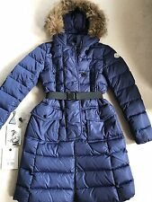 $1895 MINT100%AUTH MONCLER Royal Blue Puffer Down Coat with Coyote Fur Size 0