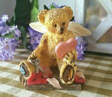"""Teddy Angels ~Bruin Making Valentines~ 1994 Cute Collectible Bear 3"""" Figurine"""