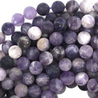 "Matte Purple Amethyst Round Beads Gemstone 15.5"" Strand 4mm 6mm 8mm 10mm 12mm"