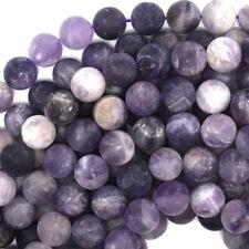 Matte Purple Amethyst Round Beads Gemstone 15.5