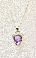 925 Sterling Silver PURPLE CZ Crystal Heart Shaped Necklace Jewellery Gift UK