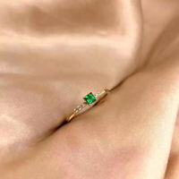 0.50 Ct Princess Cut Colombian Emerald & Diamond Ring In 14k Yellow gold Over