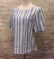 "CAbi  Womens  Blue White Striped Linen Blend ""Wing Top"" Shirt Blouse Size Small"