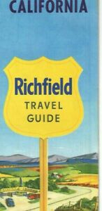 Vintage 1957 Richfield California Travel Guide Road Map