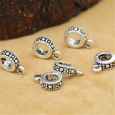 8 Sterling Silver Donut Tire Bail Bead Charms 925 Silver Bracelet Spacers 7mm