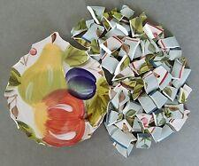 "Handpainted 7"" Focal Tile Black Forest Fruits + 80 Coordinating Rims & Tiles"