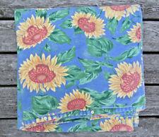 "New listing Garnet Hill German 100% Organic Cotton Flannel Duvet Cover 76""x78"" Sunflowers"