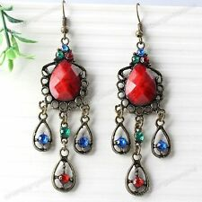 2x Bronze Crystal Teardrop Chandelier Dangle Eardrop Hook Earrings Women Jewelry