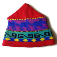 Summit Toppers Beanie Ski Skiing 100% Wool Hat Handknit Retro Nordic Red Vintage
