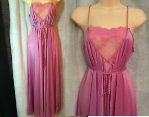 Vtg Floral Lace Open Insert Sweeping Nightgown Size Medium M Rene Pink/Purple