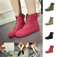 New Womens Girls Flat Ankle Motorcycle Boots Faux Suede Lace Up Shoes Large Size