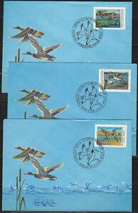 Soviet Russia 1990 FDC covers Ducks.Water Birds.Sc 5906-5908 Mi 6099-6101