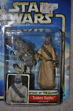 STAR WARS ATTACK OF THE CLONES TUSKEN RAIDER WITH MASSIFF 2002 #52 HASBRO MOSC