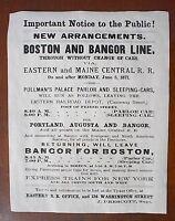 "(692L) RAILROAD BOSTON AND BANGOR MAINE CENTRAL RAILWAY TRAIN AD REPRINT 11""X14"""