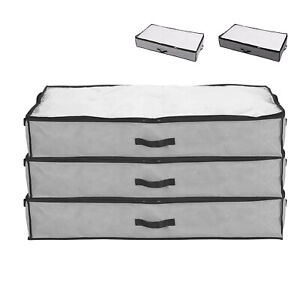 2X 90L Underbed Clothes Storage Bags Zipped Organizer Wardrobe Cube Closet Boxes