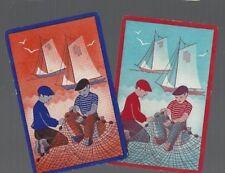 Playing Swap Cards 2 VINT U.S. DUTCH  BOYS MENDING FISHING NET BY THE WATER 359