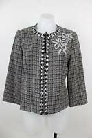 Spenser Jeremy Tweed Floral Trim Zipper Blazer Jacket Size 12