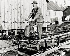 Old Antique Vintage Weird Strange Funny Pedal Power Bike Train Locomotive Photo