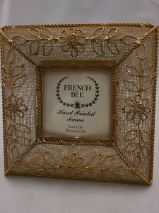 """French Bee GOLDTONE Mesh 7X7"""" Metal Flowers FRAME Holds 3.5X3.5"""" Photo"""