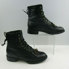 Ladies Ariat Black Leather Roper Lace Up Boots Size : 7.5 B