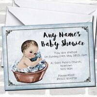 Vintage Baby Boy In Washtub Baby Shower Invitations