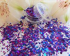 Nail Art Chunky *Passion* Purple Blue Hexagon Glitter Spangle Dust Mix Pot Tip