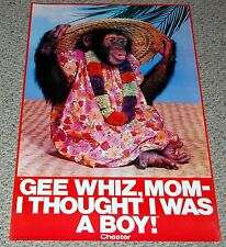 CHESTER Crossdressing Monkey 1970's Poster Thought I Was A Boy Head Shop